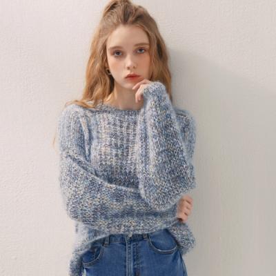 AIR SPACE 金蔥混紡長袖毛衣(藍)