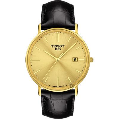 TISSOT天梭 18K金 Goldrun 石英錶-金x黑/38mm
