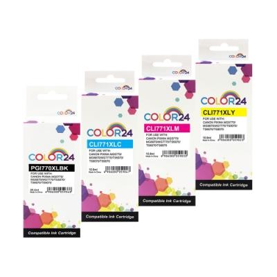 Color24 for Canon 770XLBK+771XL C/M/Y 四色相容墨水匣