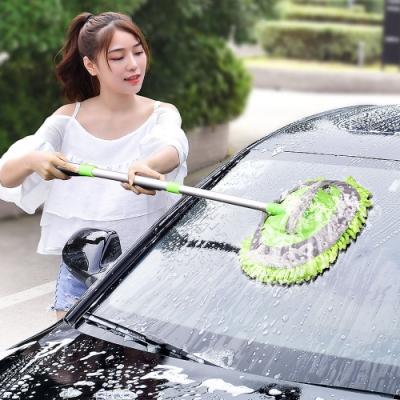 [時時樂限定]EZlife雪尼爾洗車伸縮拖把組(贈清潔家務手套)