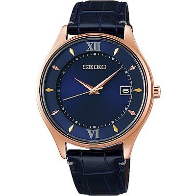 SEIKO精工 SPIRIT 聖誕限量太陽能 鈦金屬男錶(SBPX116J)-藍/40mm