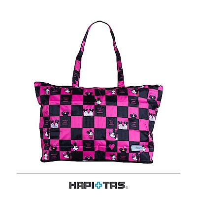日本HAPITAS摺疊托特包購物袋格子粉米奇迪士尼授權
