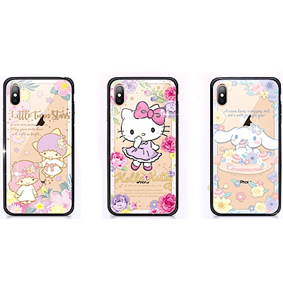 GARMMA Hello Kitty iPhone X/XS 玻璃殼 花草系列