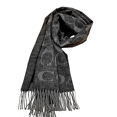COACH 經典滿版LOGO羊毛混絲披肩圍巾-黑灰色COACH