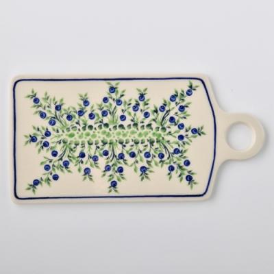波蘭陶 粉紫浪漫系列 長方形呈菜盤 14.3x28.5cm 波蘭手工製
