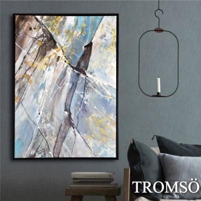 TROMSO 時尚風華抽象有框畫大幅-光灑磐石W957