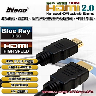 【iNeno】HDMI High Speed 超高畫質圓形傳輸線 2.0版-30M