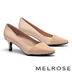 高跟鞋 MELROSE 極簡主義異材質牛軟漆皮拼接羊皮尖頭高跟鞋-米