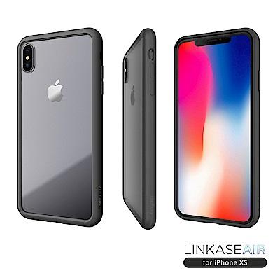 LINKASE AIR iPhone XS/X 大猩猩9H康寧玻璃防摔保護殼-消光黑
