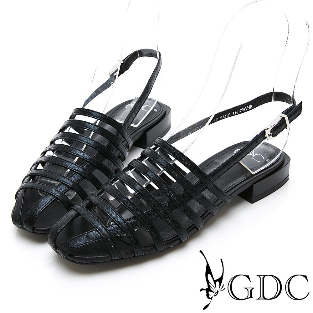 GDC-真皮亮面歐風編織質感簡約小羅馬設計涼鞋-黑色