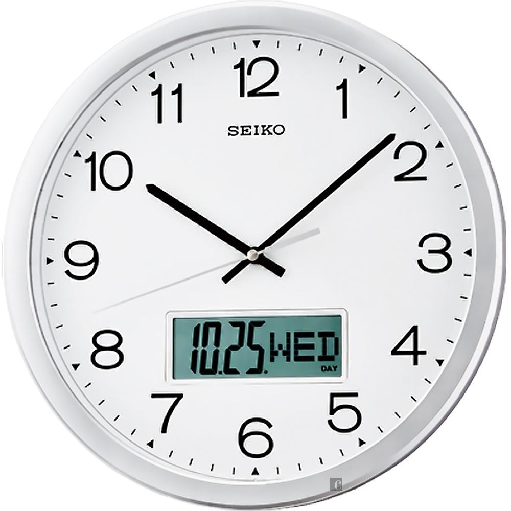 SEIKO 精工 滑動式指針雙顯掛鐘 QXL007S