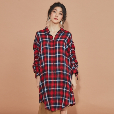 beartwo-袖子抽繩格紋長版洋裝-紅