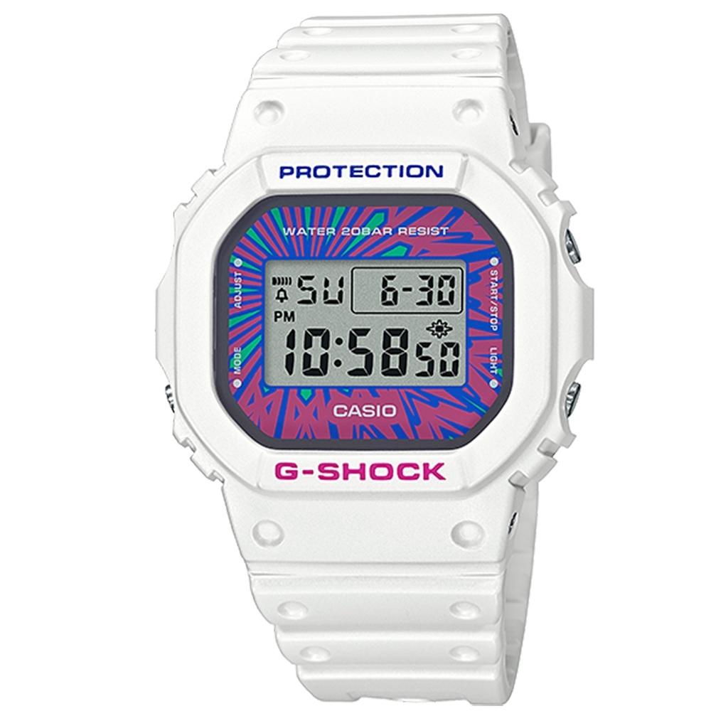 G-SHOCK CASIO 卡西歐 繽紛撞色 防水 電子手錶 霓虹色x白 DW-5600DN-7 44mm