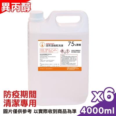 壽山 異丙醇 潔用酒精乾洗液 75% 4000mlx6瓶 (非醫療用品 僅供清潔)