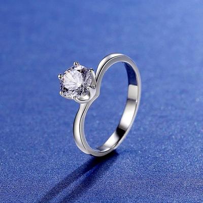 米蘭精品 莫桑鑽戒指925純銀開口戒-1克拉六爪鑲嵌扭臂聖誕節情人節生日禮物女飾品2色73yk92