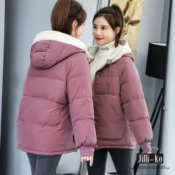 JILLI-KO 簡約保暖防風高領連帽羽絨棉外套- 紫色