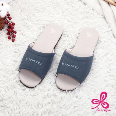 維諾妮卡 和風素色冰咖啡紗室內拖鞋-藍色