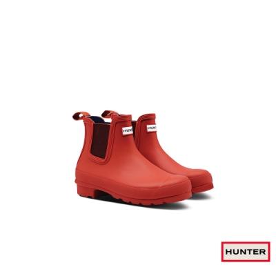 HUNTER - 女鞋 - Original切爾西霧面踝靴 - 橘紅