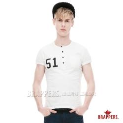 BRAPPERS 男款 數字半門襟圓領短袖T恤- 米白