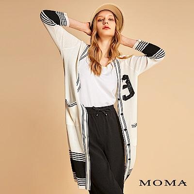 MOMA 撞色數字針織外套