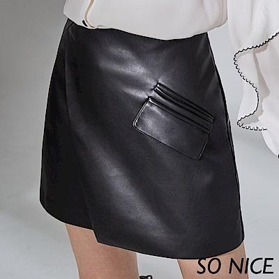 SO NICE率性剪裁皮質短裙 @ Y!購物