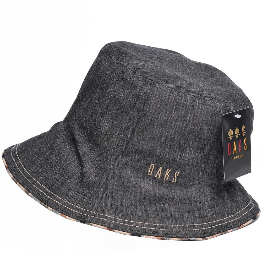 DAKS 品牌格紋滾邊刺繡LOGO單寧布漁夫帽(黑灰色)