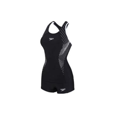 SPEEDO 女 運動兩截式平口泳裝 Fit 黑白