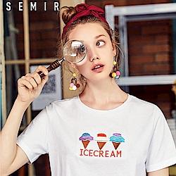 SEMIR森馬-冰淇淋甜筒造型刺繡短袖T恤-女