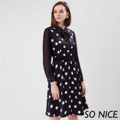 SO NICE復古綁結圓點拼接洋裝