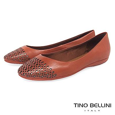 Tino Bellini 巴西進口牛皮精緻皮雕舒適娃娃鞋 _ 橘