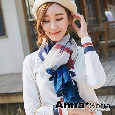 【2件450】AnnaSofia 層條墨彩塗漾 拷克邊韓國棉圍巾披肩(藏藍灰系)