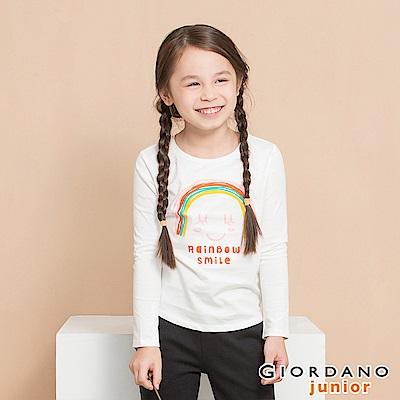 GIORDANO 童裝純棉長袖女孩風印花T恤-21 低調白