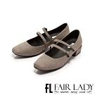 Fair Lady格紋雙繫帶瑪莉珍方頭低跟鞋 英倫格