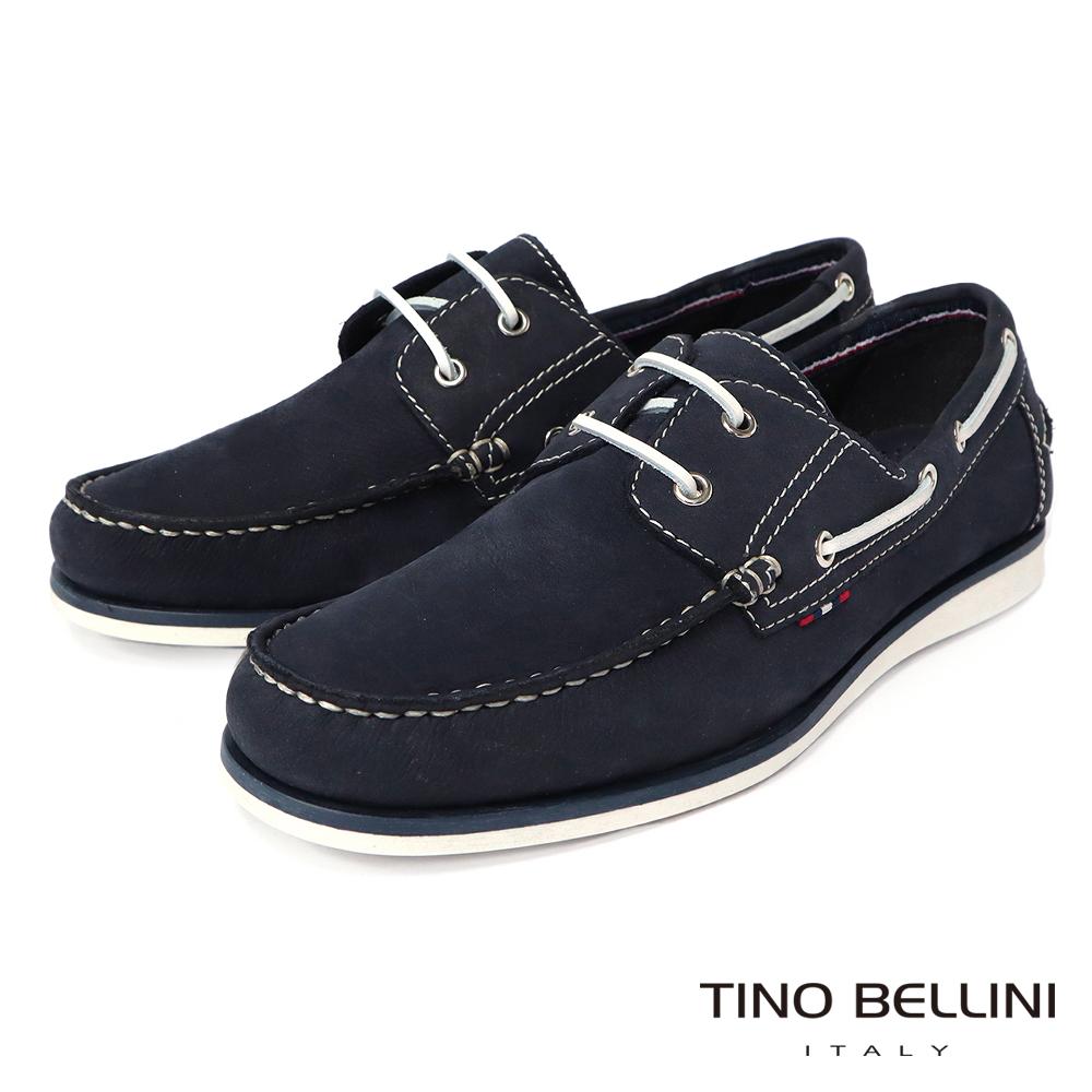 TINO BELLINI 男款牛麂皮撞色鞋帶休閒帆船鞋-藍
