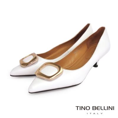 Tino Bellini 細膩全羊皮金釦舒足中低跟鞋_白