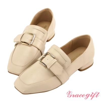Grace gift-金屬方釦低跟樂福鞋 米白