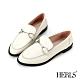 HERLS樂福鞋-全真皮馬銜釦橢圓頭低跟樂福鞋-白色 product thumbnail 1