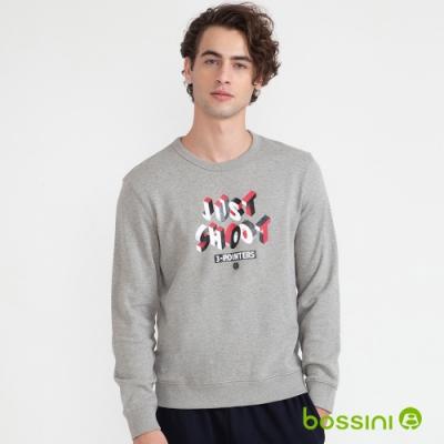 bossini男裝-圖案圓領厚棉T恤06灰色