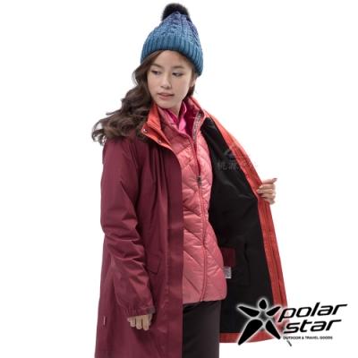 PolarStar 女 二件式防風羽絨外套『酒紅』P18236