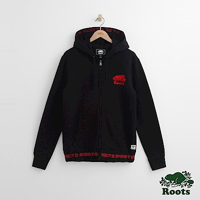 Roots 男裝-緞帶連帽外套-黑