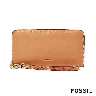FOSSIL-EMMA-真皮拉鍊長夾-駝色-附手掛