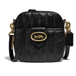 COACH 正櫃限量絎縫羊皮KAT相機包-黑色