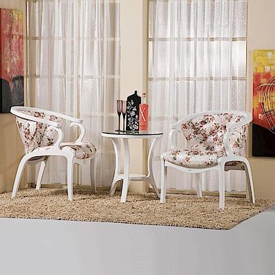AS-維多莉雅白色休閒椅組-一桌兩椅