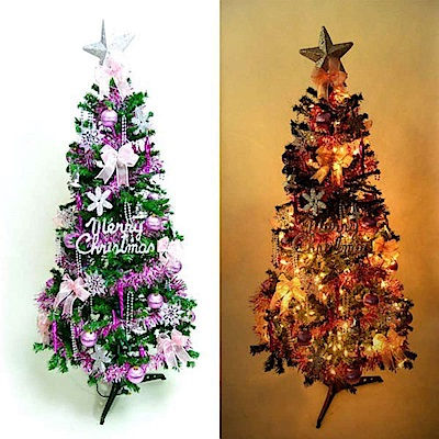 摩達客 12尺一般型綠裝飾聖誕樹  (+銀紫色系配件組+100燈鎢絲樹燈8串)本島免運費