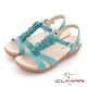 【CUMAR】立體花朵裝飾腳床式涼鞋-水藍 product thumbnail 1