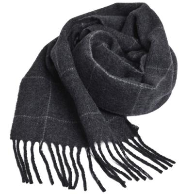 RALPH LAUREN POLO 義大利製小馬刺繡雙面格紋羊毛圍巾(深灰色)