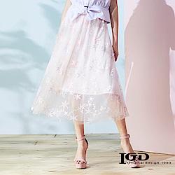 IGD英格麗 星星蕾絲網紗裙-粉