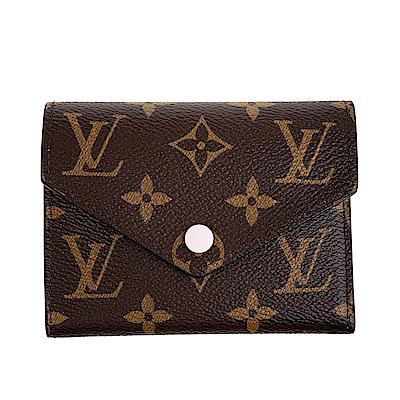 LV M62360 Victorine 經典花紋扣式錢短夾 (粉紅)