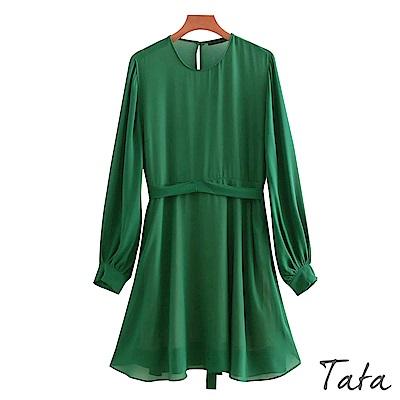 雪紡泡泡袖連身洋裝 (附腰帶) TATA