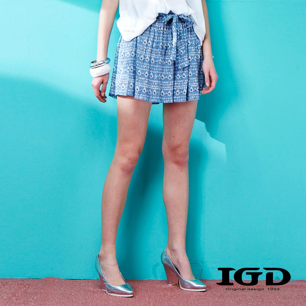 IGD英格麗 孔雀紋印花綁帶褲裙-藍色